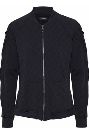 KORAL Glance ruffle-trimmed jacquard bomber jacket