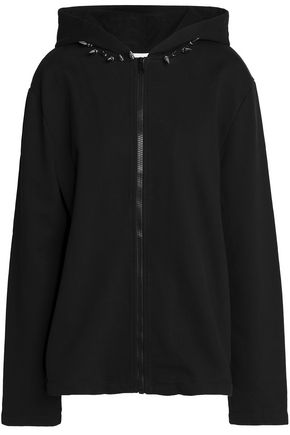 HELMUT LANG Studded French cotton-terry hooded jacket