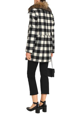 REDValentino Faux fur-trimmed checked wool coat