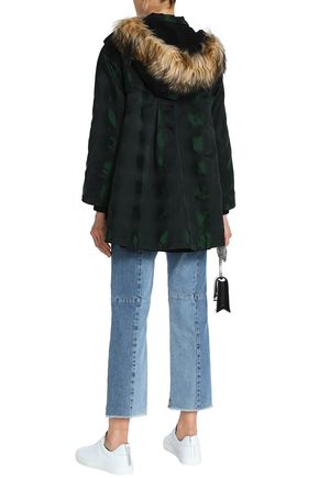 REDValentino Faux fur-trimmed quilted shell hooded down jacket