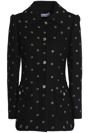 REDValentino Eyelet-embellished wool-blend coat