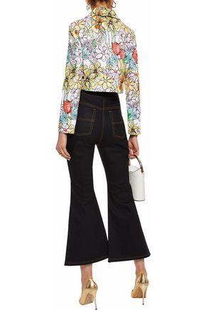MOSCHINO Printed cotton-blend piqué jacket
