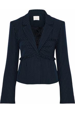CINQ À SEPT Ruffle-trimmed pinstriped twill blazer