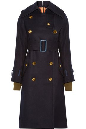 SACAI Double-breasted brushed-wool coat