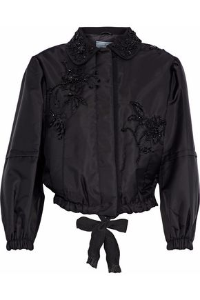 PRADA Embellished faille bomber jacket