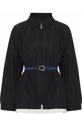 PRADA Belted layered silk-faille jacket