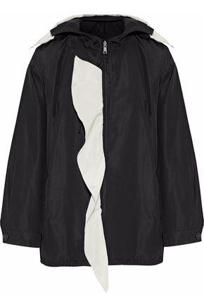 PRADA Ruffle-trimmed silk-faille hooded jacket