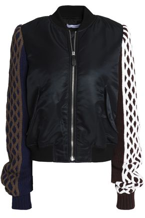 J.W.ANDERSON Cable knit-paneled satin bomber jacket