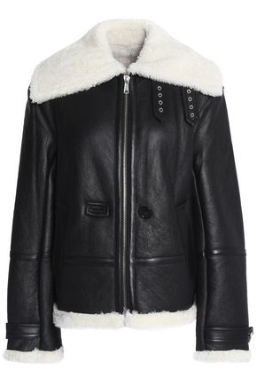 HELMUT LANG Aviator shearling-trimmed leather jacket