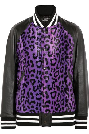 JUNYA WATANABE COMME des GARÇONS Leather-paneled leopard-print calf-hair bomber jacket