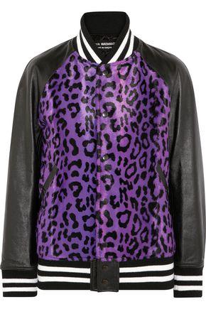 JUNYA WATANABE COMME des GARÇONS Leather-paneled leopard-print calf-hair bomber jacket