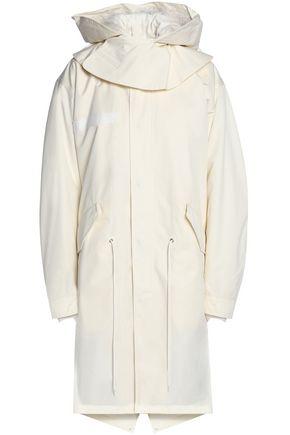 HELMUT LANG Shearling-trimmed cotton-gabardine hooded coat
