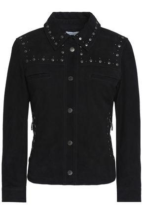 REBECCA MINKOFF Studded suede biker jacket