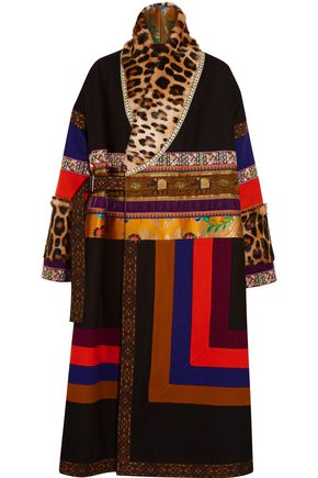 ETRO Leopard-print calf hair-paneled embroidered wooll-blend coat