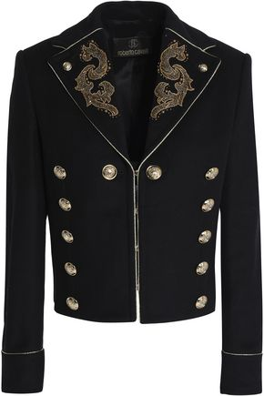 ROBERTO CAVALLI Embellished wool-blend jacket