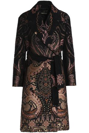 ROBERTO CAVALLI Double-breasted belted chenille-jacquard coat