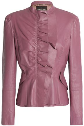 ROBERTO CAVALLI Ruffle-trimmed leather jacket