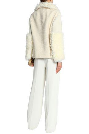 ROBERTO CAVALLI Shearling-trimmed alpaca-blend coat