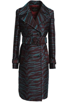 ROBERTO CAVALLI Double-breasted jacquard trench coat