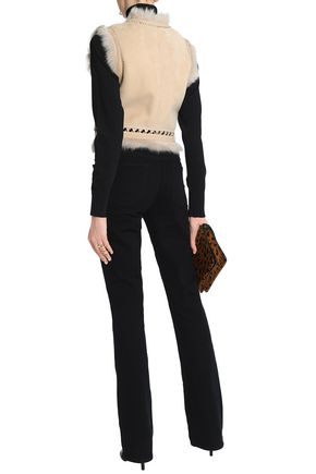 ROBERTO CAVALLI Shearling-trimmed suede gilet