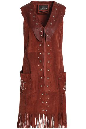 ROBERTO CAVALLI Fringe-trimmed leather-paneled studded suede vest