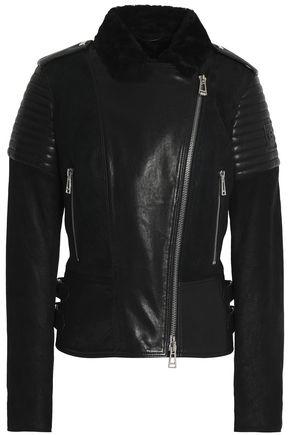 BELSTAFF Shearling-trimmed leather jacket
