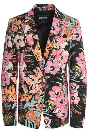 JUST CAVALLI Printed cotton-blend gabardine blazer