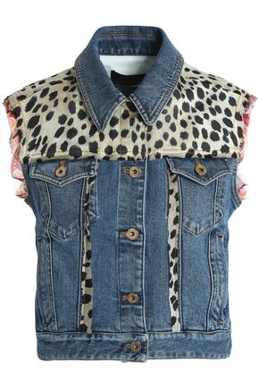 ROBERTO CAVALLI Leopard-print satin-paneled denim vest