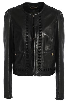 ROBERTO CAVALLI Lattice-trimmed leather jacket
