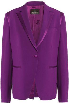 ROBERTO CAVALLI Satin-trimmed crepe blazer