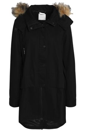 ASHLEY B Shearling-Trimmed Cotton Hooded Jacket in Black