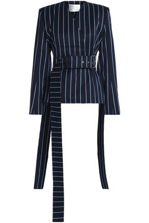 SOLACE LONDON Double-breasted pinstriped wool and cotton-blend twill jacket