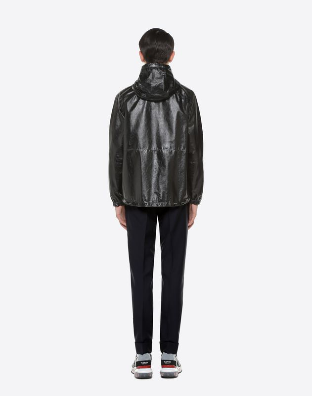 Leather jacket with VLTN drawstring
