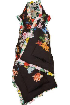 PREEN by THORNTON BREGAZZI Reversible ruffle-trimmed printed silk crepe de chine vest