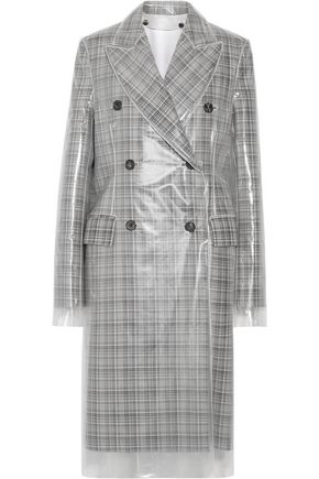 CALVIN KLEIN 205W39NYC PVC-layered checked wool coat