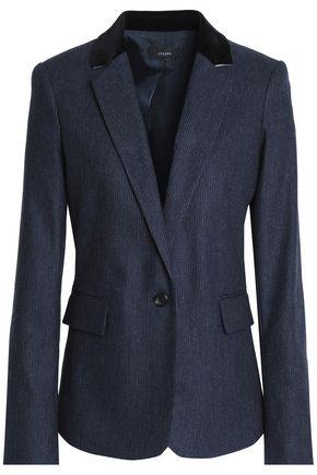 JOSEPH Velvet-trimmed pinstriped wool-blend felt jacket