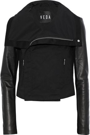 VEDA Ray leather-paneled cotton-twill jacket