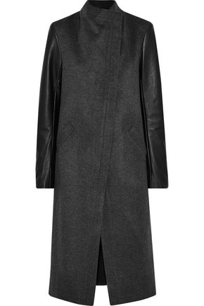 VEDA Cadillac leather-paneled wool-blend coat