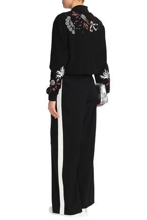 MARKUS LUPFER Embellished embroidered wool-blend crepe bomber jacket