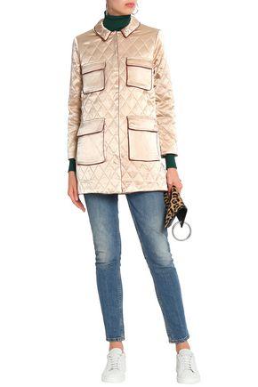 GANNI Quilted satin jacket