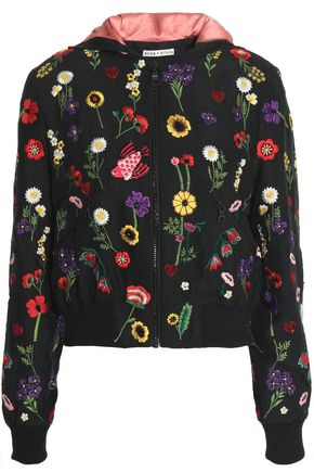ALICE + OLIVIA JEANS Printed crepe bomber jacket