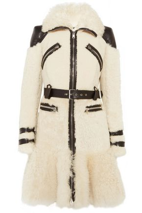 ALEXANDER MCQUEEN Leather-trimmed shearling-paeneled suede coat