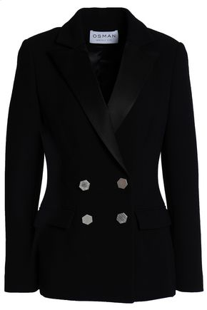 OSMAN Double-breasted wool-crepe blazer