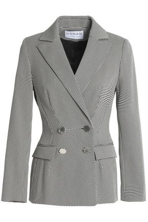 OSMAN Double-breasted houndstooth cotton-blend blazer