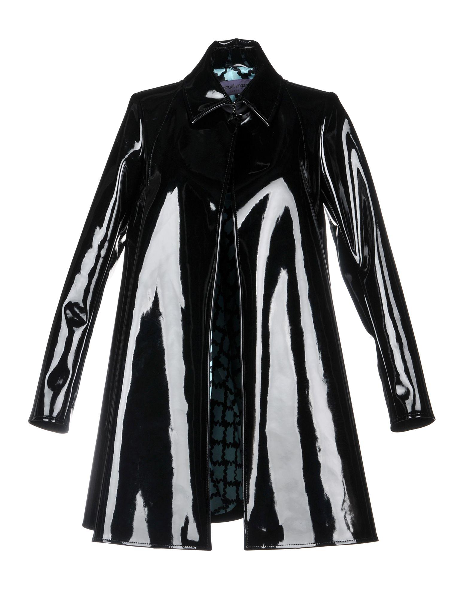《セール開催中》EMANUEL UNGARO レディース コート ブラック 40 ポリウレタン 78% / ナイロン 15% / レーヨン 7% / コットン