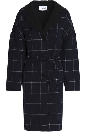 CLAUDIE PIERLOT Belted checked wool-blend felt coat