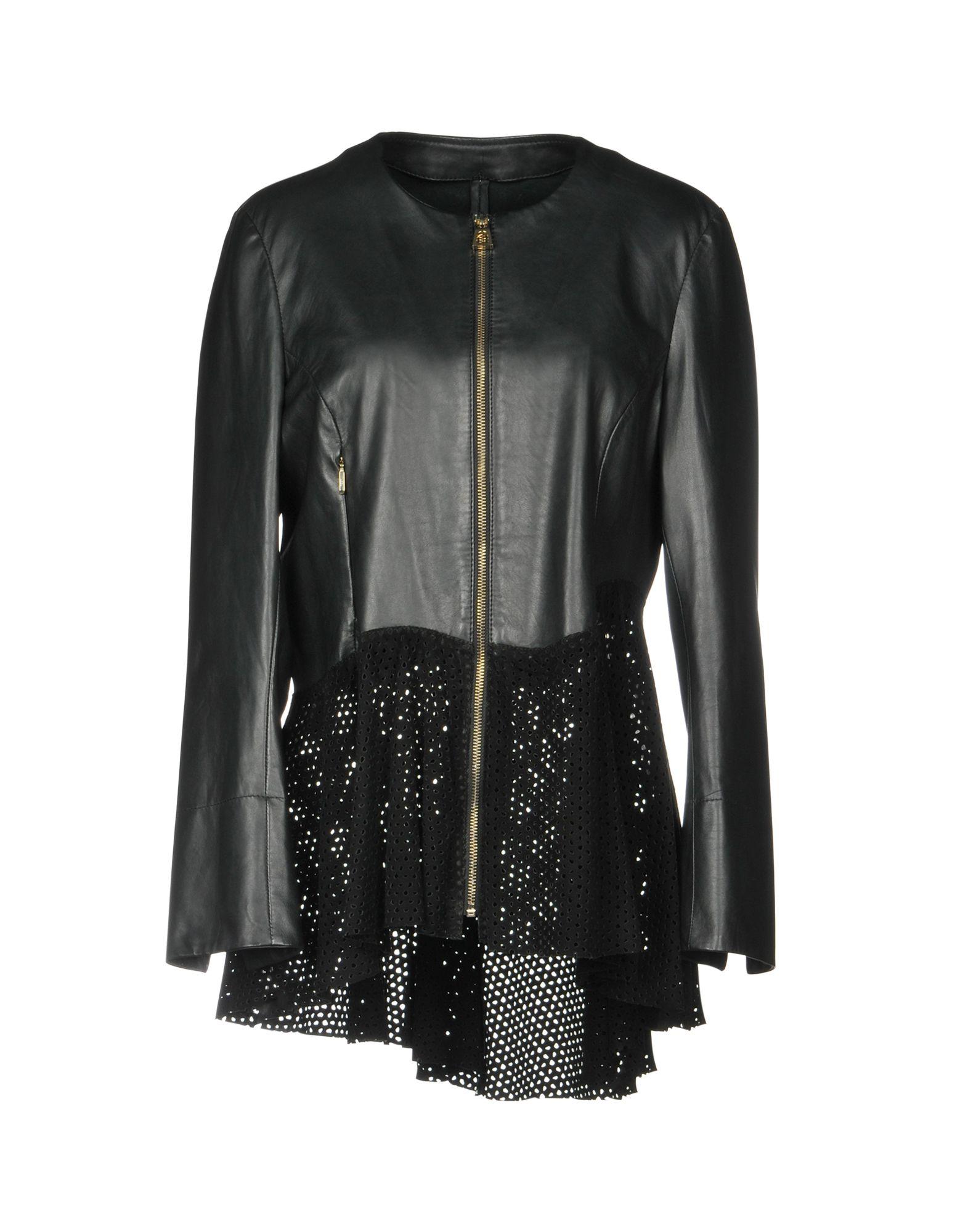 DIEGO M Leather Jacket in Black