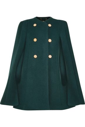 CHLOÉ Cape-back double-breasted wool and mohair-blend coat