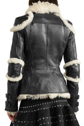 ALEXANDER MCQUEEN Shearling-trimmed leather biker jacket