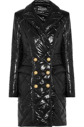 BALMAIN Double-breasted quilted glossed-shell coat